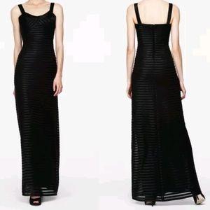 BCBGMAXAZRIA black satin piping sheer formal dress